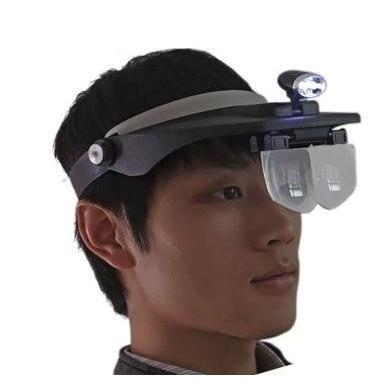頭戴放大鏡LED 超大鏡片放大鏡頭盔式高倍閱讀維修放大鏡帶燈