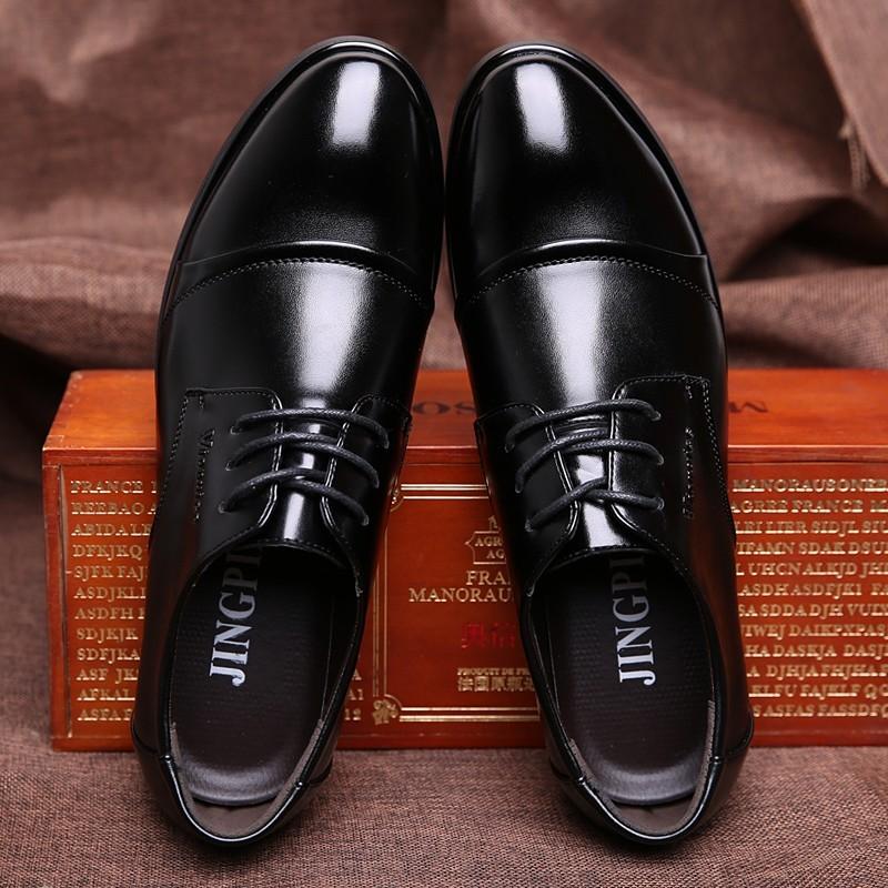 男士皮鞋男鞋真皮 英倫系帶尖頭 內增高鞋商務正裝