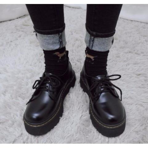 買一送二復古黑皮鞋英倫綁帶學院風學生鞋大頭厚底圓頭牛津鞋中高跟平底低筒馬丁古著百搭vint