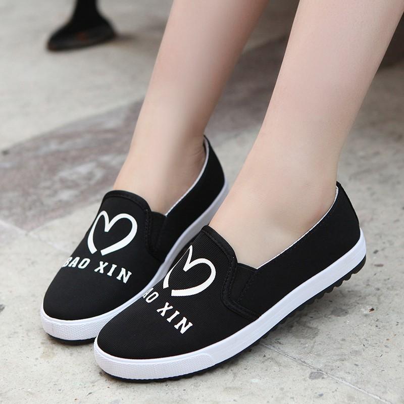 愛心平底鞋女鞋帆布鞋懶人鞋學生鞋休閒鞋套腳板鞋潮鞋黑藍紅三色