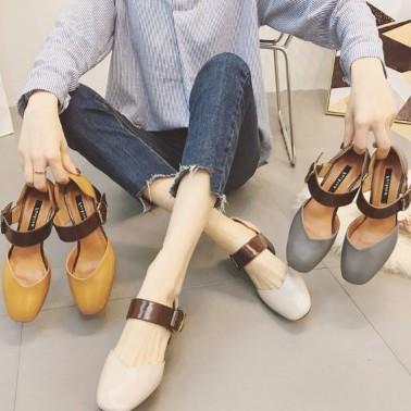 小熊日系*複古 百搭一字扣高跟鞋包頭粗跟單鞋中跟涼鞋女夏