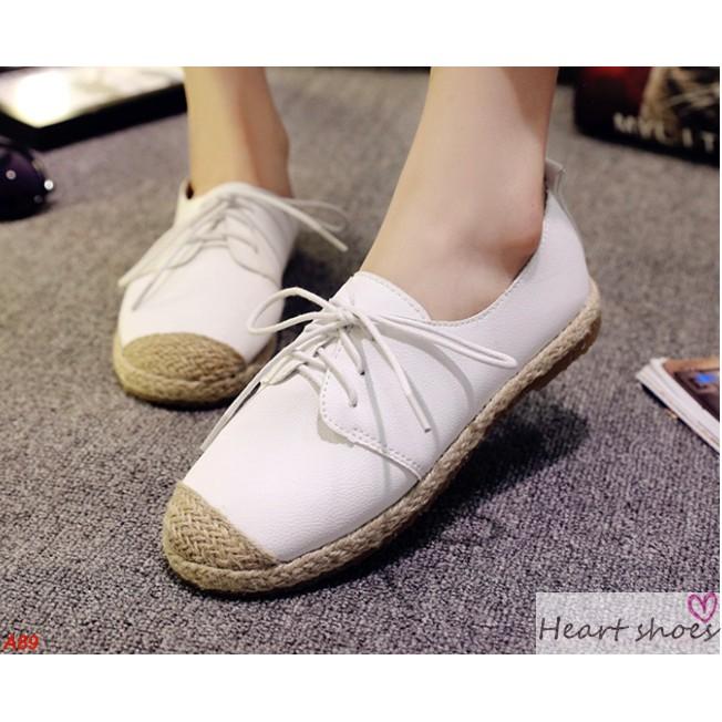 休閒鞋學院風草編平底系帶女平底休閒鞋Heart shoes