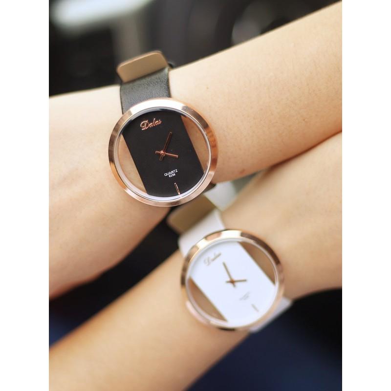 手錶女韓國 學生復古原宿大錶盤透明雙面鏤空 時裝錶情侶錶