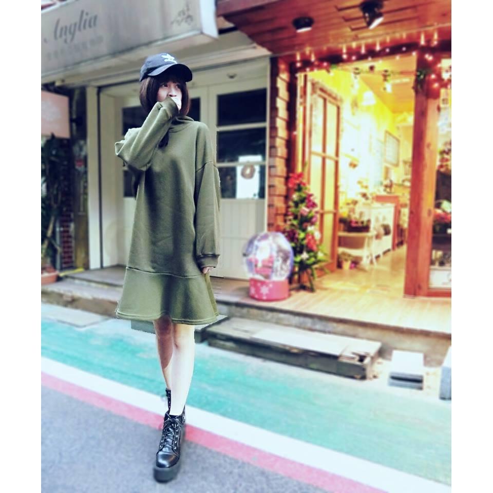 刷毛魚尾裙長版帽T 連帽洋裝連身裙帽T 寬鬆顯瘦拉繩荷葉裙襬落袖K8819