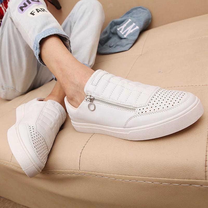春 潮流男士透氣板鞋 小白鞋金屬拉鏈潮鞋白色休閒男鞋