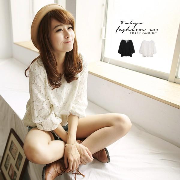 東京著衣花蕾絲七分蓬袖縮口上衣F 3017268