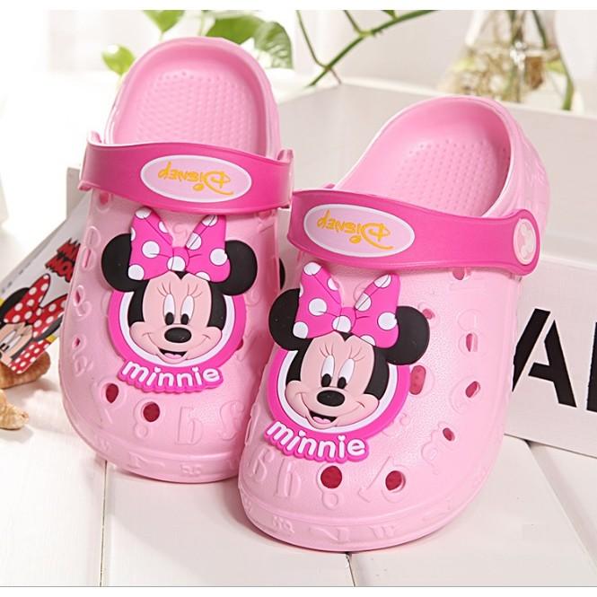 迪士尼 米妮防滑女童沙灘鞋洞洞鞋沙灘洞洞鞋布希鞋防水涼鞋