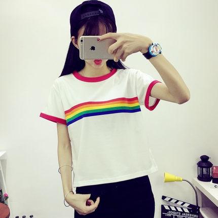 韓國原宿彩虹可爱拼接撞色百搭短款短袖T 恤学生風