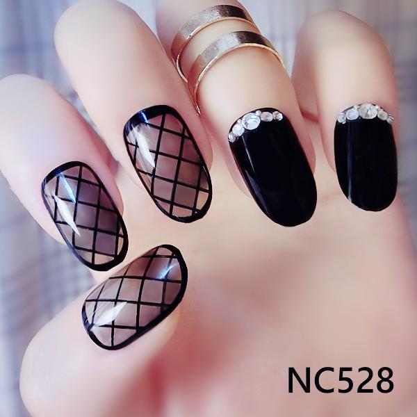 NC528 黑色誘惑網襪概念藝術美甲