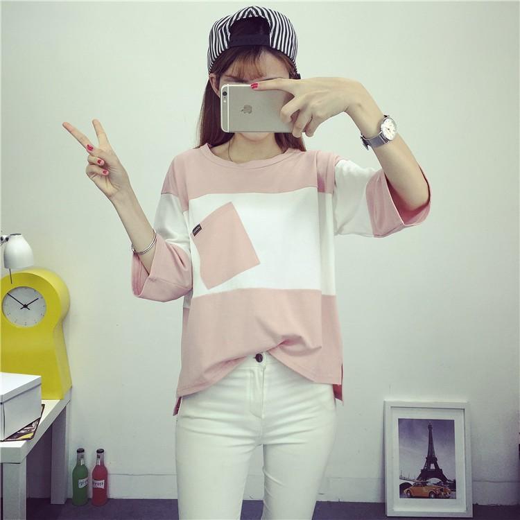 女生短袖T 恤圓領拼色口袋七分袖棉質上衣♀Sophia ♀~實拍~