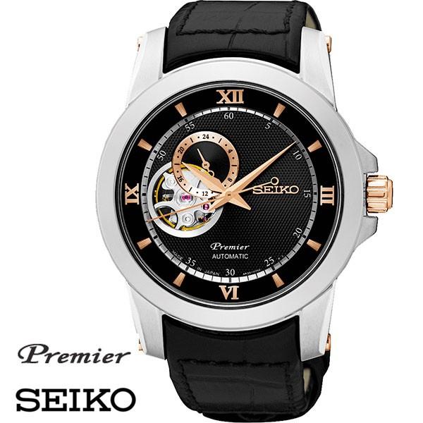 SEIKO 精工Premier 羅馬字鏤空皮帶機械錶x42mm 黑玫瑰金・4R39 00P