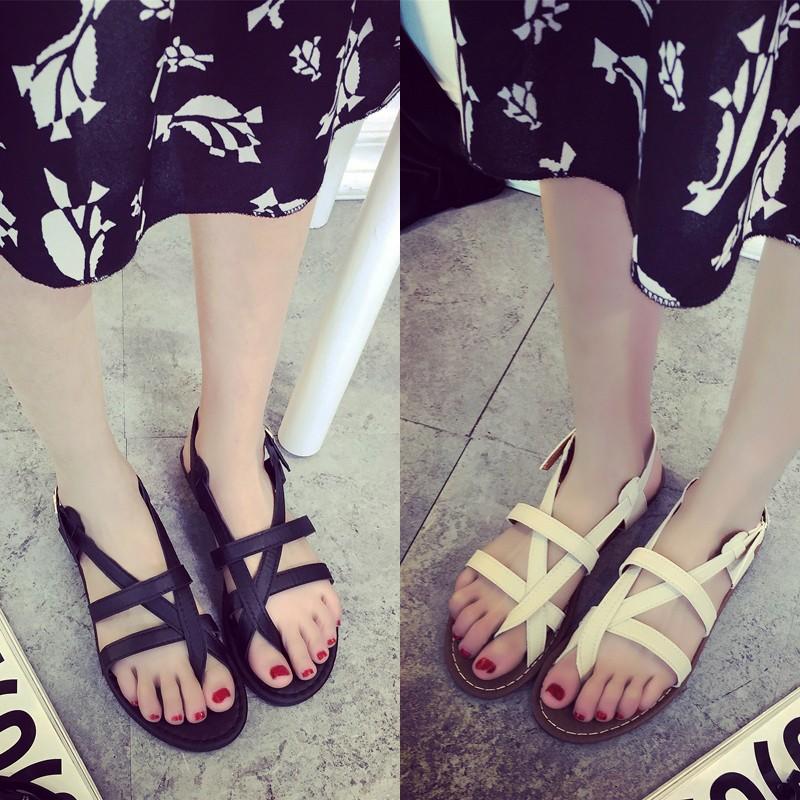羅馬平底涼鞋正韓鏤空夾趾交叉綁帶夾腳平跟 黑色
