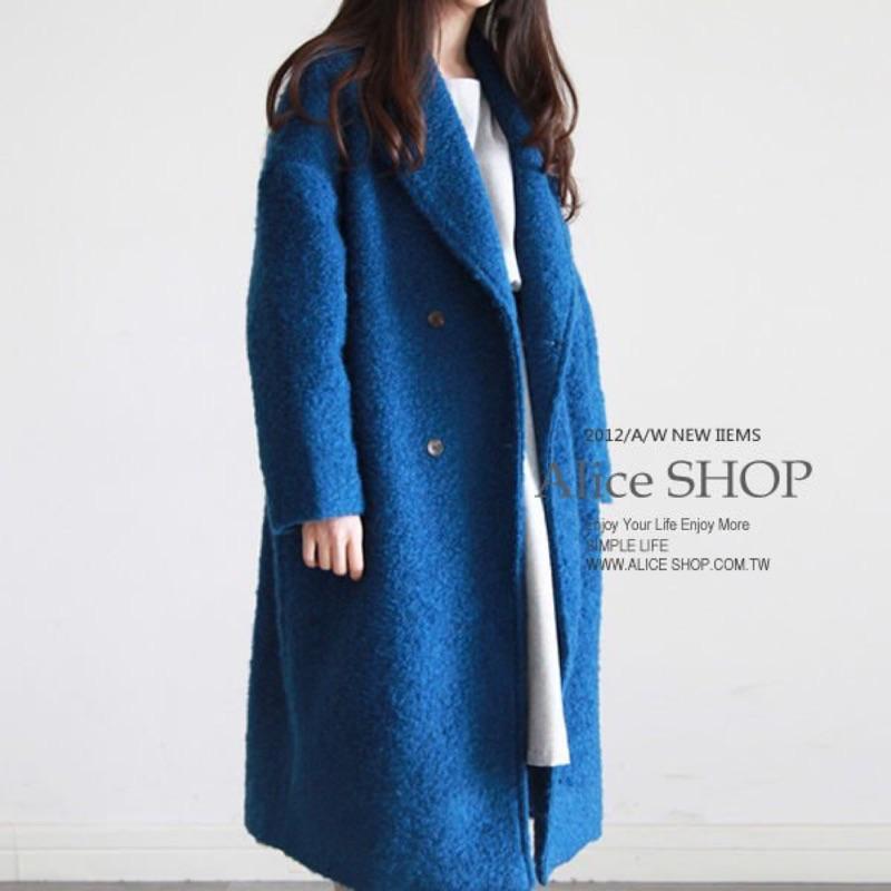 ✨降價350 ✨氣質 復古長版羊毛呢長版大衣外套