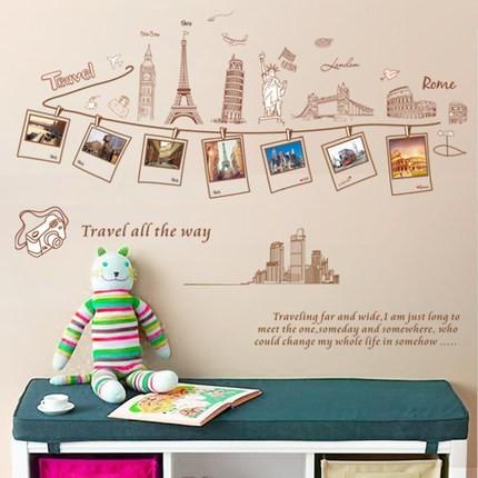 中~爆款 ~壁貼浪漫建築各國風景巴黎鐵塔臥室客廳走廊電視背景沙發牆貼歐洲遊可