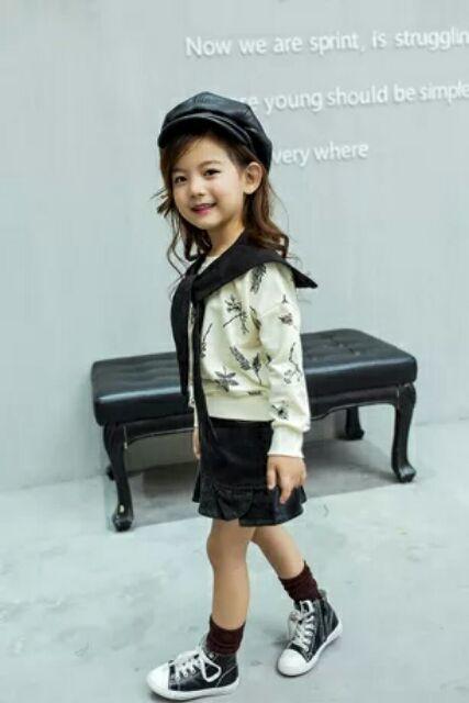 女童套裝2016 秋裝 兒童 學院風花朵衛衣荷葉邊包裙兩件套
