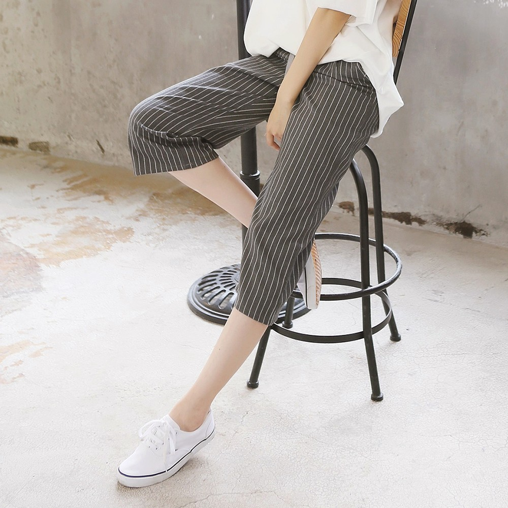 A301 春夏裝大碼闊腿褲女七分褲寬鬆高腰鬆緊休閒褲子