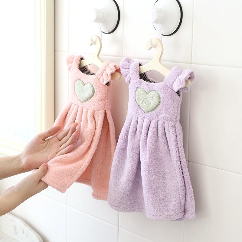 可愛公主 洋裝擦手毛巾含小衣架加厚掛式吸水珊瑚絨擦手毛巾廚房浴室廁所超吸水
