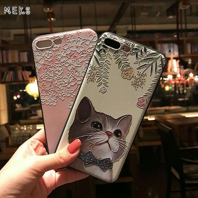 ~貓咪控~彩繪浮雕手機殼蘋果系列手機殼 潮TPU 軟殼 iphone6 iphone7 p