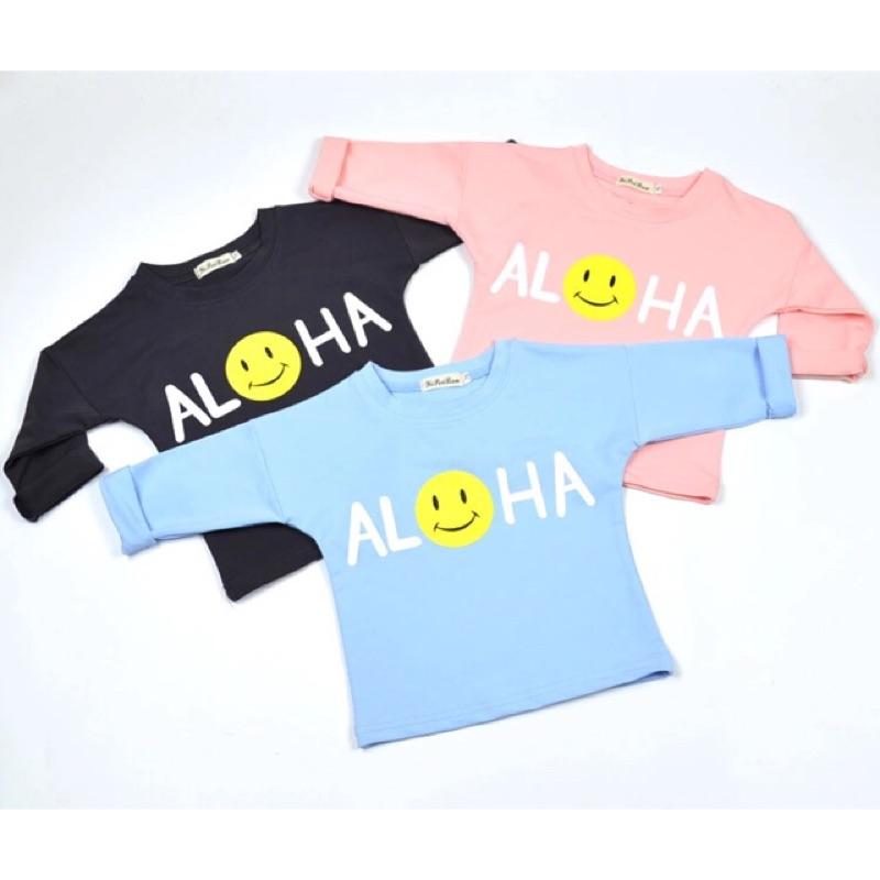 男童女童兒童寶寶嬰兒aloha 字母笑臉印花長袖圓領T 恤上衣