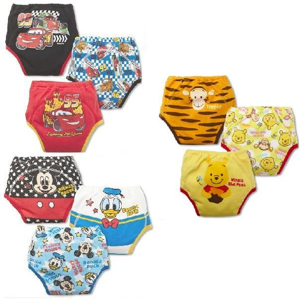 S 男學習褲防水透氣可洗寶寶內褲純棉嬰兒布尿褲隔尿褲一組3 件裝