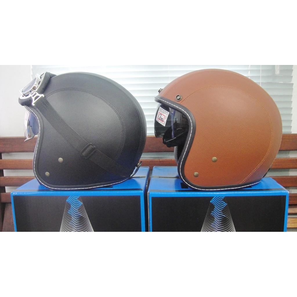 EVO CA 311 皮革復古車線雙層鏡片內藏墨片3 4 款騎士帽內鏡安全帽