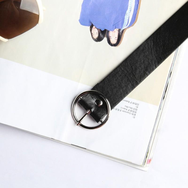 ~ Girl 潮流~牛仔短褲 ,自制韓國復古潮流基礎單品圓扣PU 皮 系腰帶皮帶