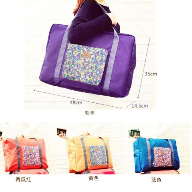 ( ) 可摺疊旅行收納包 單肩包女式加大行李包