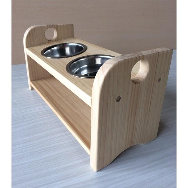 彩虹木工坊鄉村風雙口實木寵物碗架毛小孩碗架實木餵食容器雙口單口 寵物餐桌