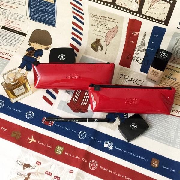 香奈兒專櫃贈品紅色漆皮隨身便攜防水小號化妝品收納洗漱包