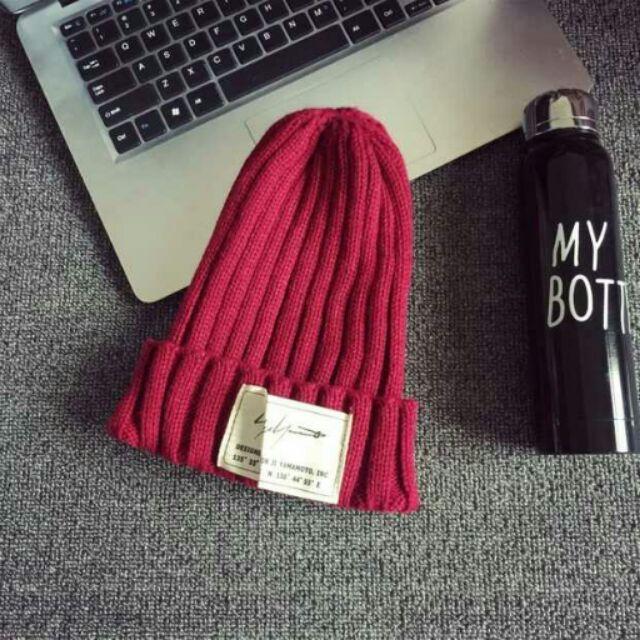 有的沒有韓國 貼布彈性針織女帽紅色保暖帽 帽