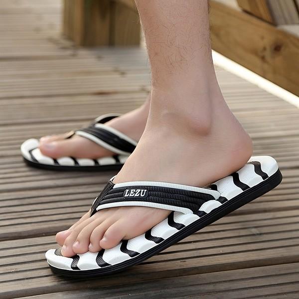 4 色 潮流防滑沙灘 鞋人字拖夾腳拖涼拖鞋男士厚底拖鞋透氣、柔軟舒適輕巧