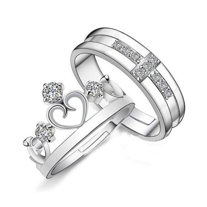 日韓 館皇冠十字架情侶戒指王子與公主情人對戒求婚戒韓風首飾 活口可調節戒指 銀飾指環日系男