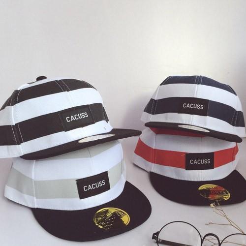 兒童男女童童帽清新條紋街頭平沿嘻哈帽棒球帽~~6014 LT ~灰白黑白藍白紅白