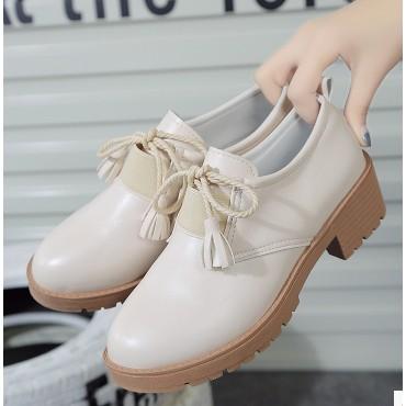 英倫風女鞋小皮鞋流蘇粗跟復古單鞋厚底高跟牛津鞋小白鞋