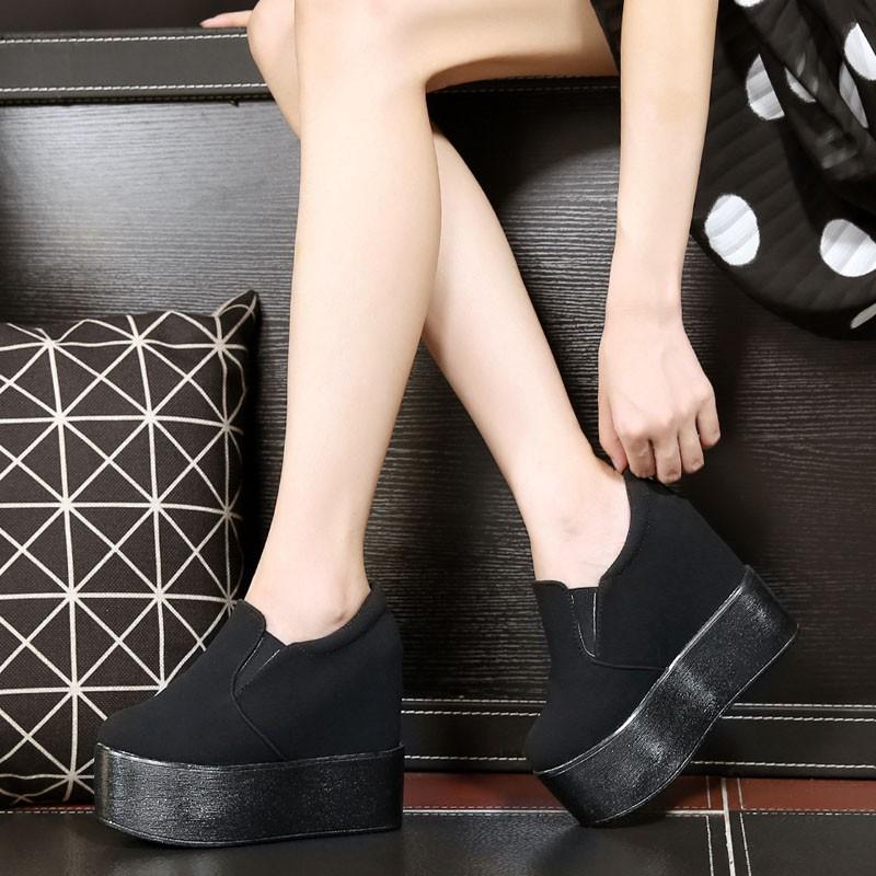 短靴歐洲站 13cm 超高跟女鞋公主夜店內增高性感松糕鞋厚底坡跟鞋潮過膝靴短靴馬丁靴靴子