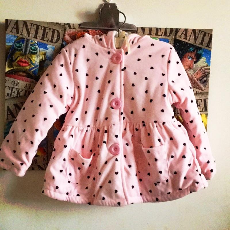 粉紅愛心點點純棉厚舖綿外套 2 3 歲