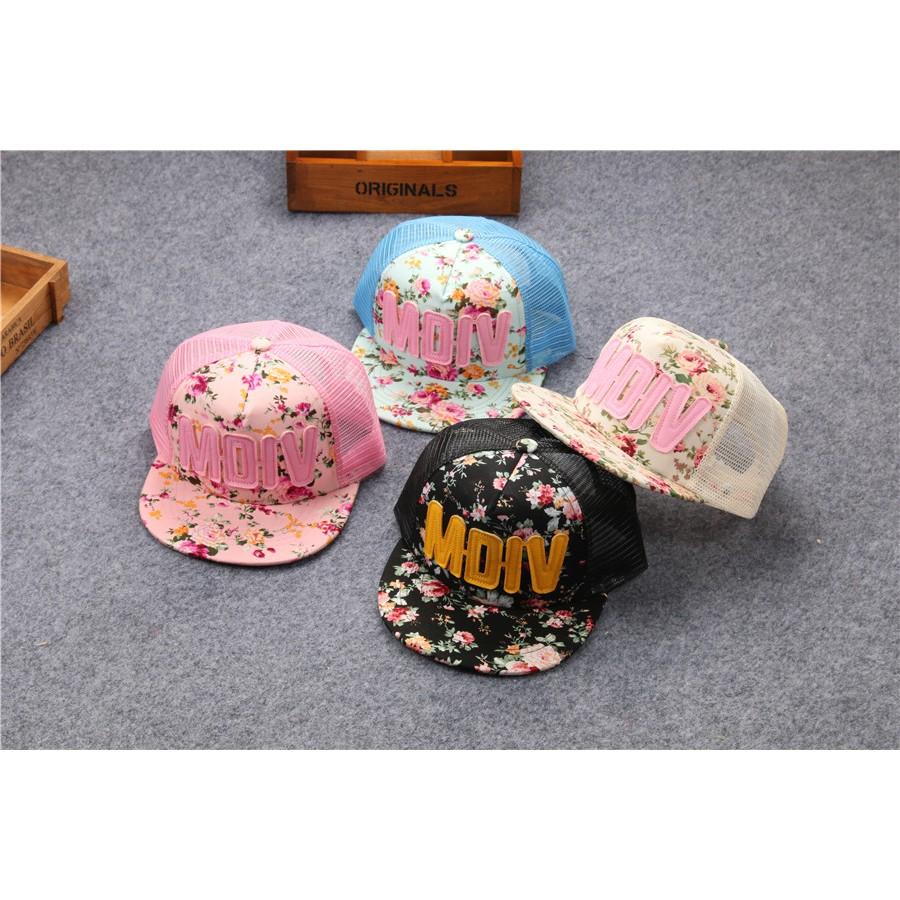 春夏款兒童 潮春夏網帽MDIV 印花男女童平沿嘻哈帽鴨舌棒球帽