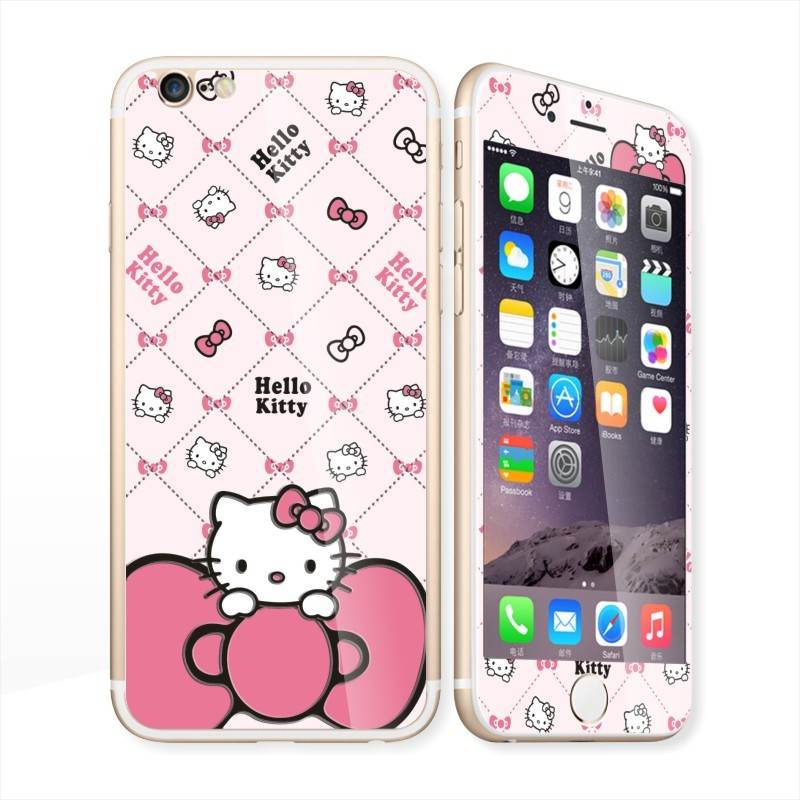 i6s i6 plus 滿版夜光彩色玻璃鋼膜kitty 閃粉卡通人物蘋果iPhone 保護