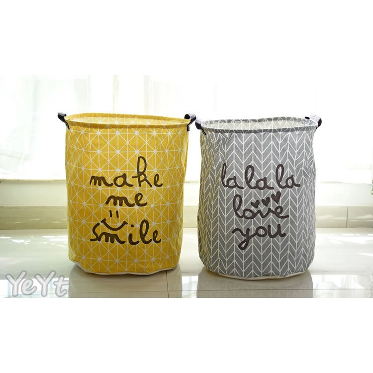 ~Ye Yt ~0619 棉麻手提防水收納桶收納筐收納籃洗衣籃髒衣桶儲物桶換季整理衣物北歐