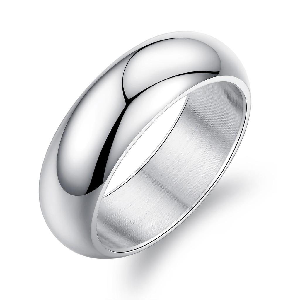 首飾簡約白色光面指環OL 風格 鈦鋼男士戒指