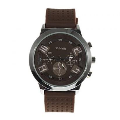 男士圓形錶盤矽膠錶帶 手錶喜愛戶外軍用腕錶