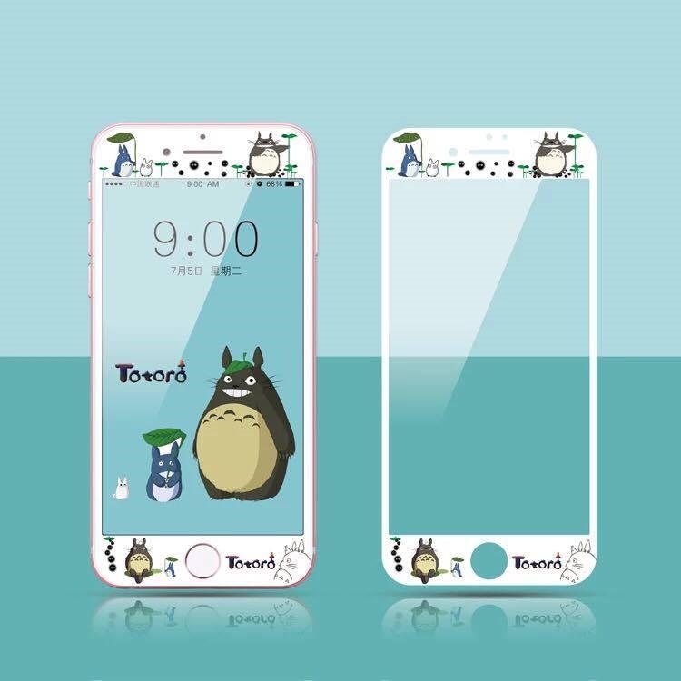 iphone7 iphone7plus 弧邊全屏9h 鋼化玻璃龍貓拉拉熊史努比賤兔hell