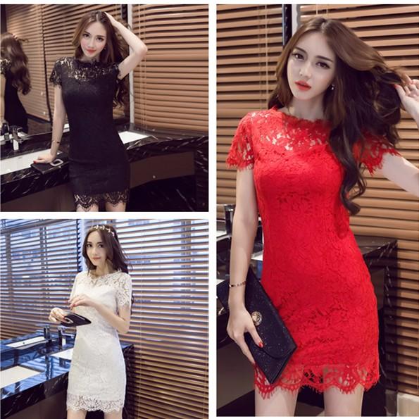S L 蕾絲性感緹花短袖洋裝小禮服黑色紅色白色A921 活動宴會派對女神
