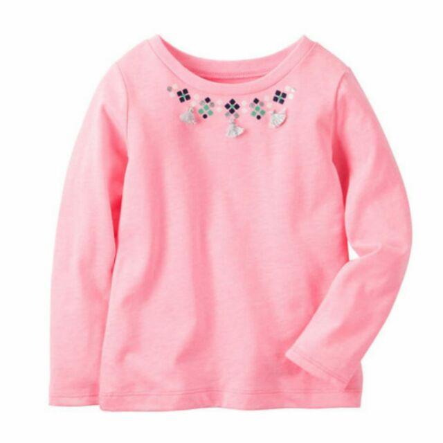 Carter s 卡特美國正品 女童女寶粉色立體流蘇裝飾長袖上衣 5T 8T