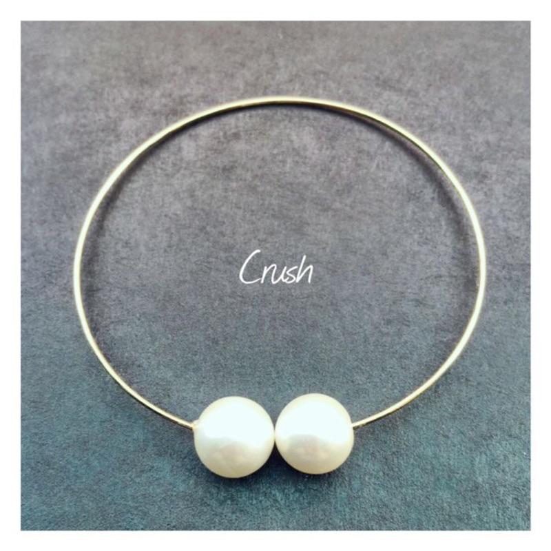 ~Crush ~彈性細版珍珠手環~金色