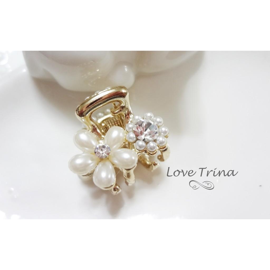 ~Love Trina ~韓國 ~正韓✈5913 0525 ~精緻珍珠花朵小抓夾~鯊魚夾~