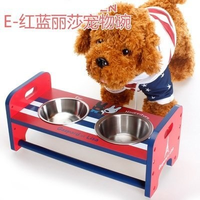 PEANUTS 木架狗盆猫盆寵物狗碗拉絲不銹鋼雙碗碗架狗碗