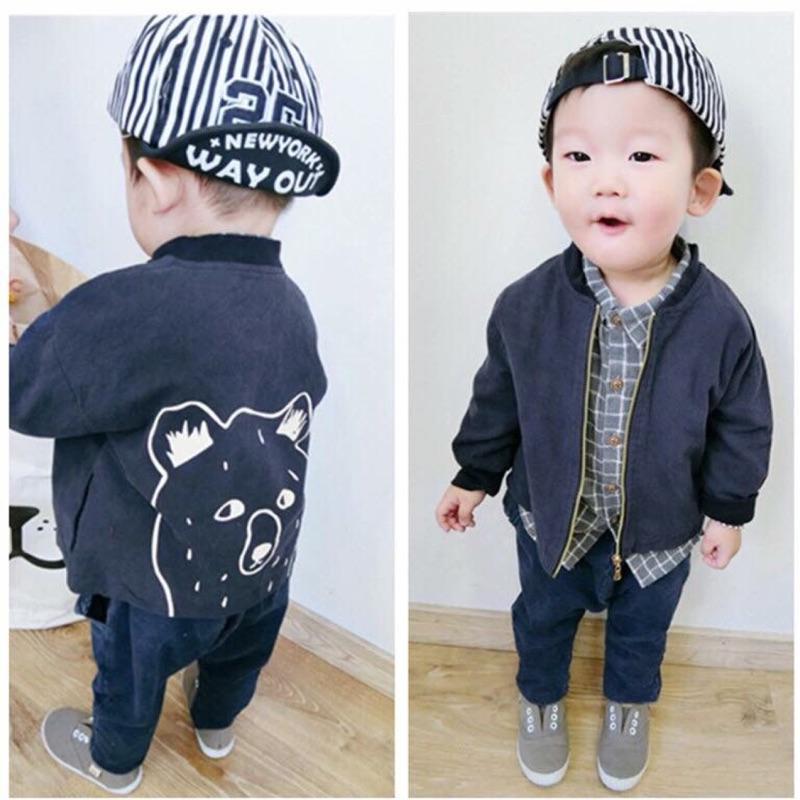 手繪熊熊棒球棉質外套