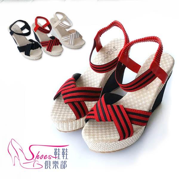 涼鞋~鞋鞋俱樂部~~052 2915 ~織帶線條寬帶交錯厚底楔型涼鞋.2 色紅米
