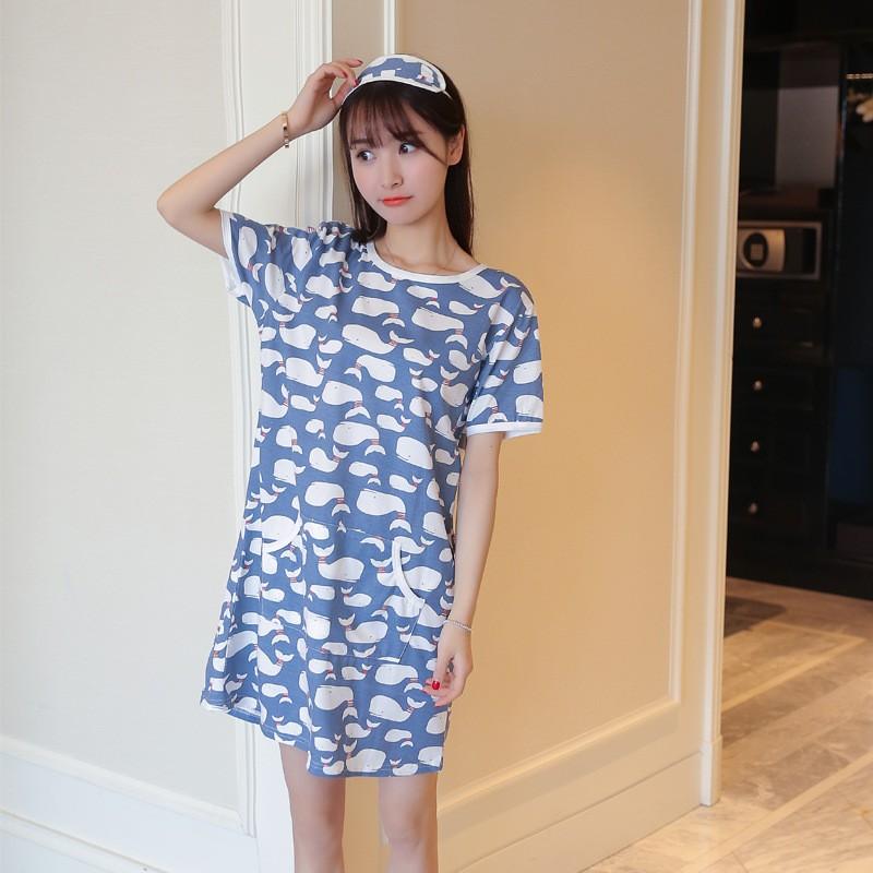 可愛卡通純棉海豚睡裙家居服舒適全棉睡衣睡裙有配送眼罩